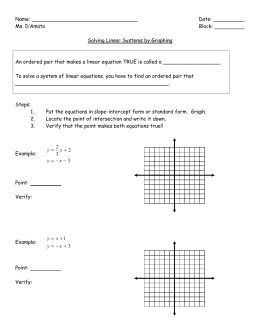 Name: Date: Ms. D'Amato Block: Solving Linear Systems by