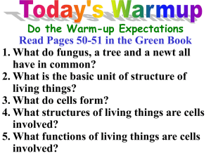What structures of living things are cells involved?