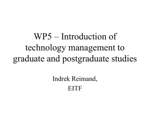 WP5 – Introduction of technology management to graduate and