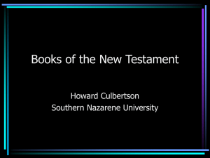 Books of the New Testament - Southern Nazarene University