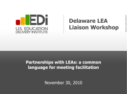 Delaware Liaison and Facilitator Training
