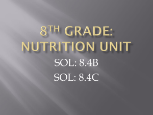 8TH GRADE: NUTRITION UNIT