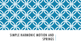 Simple Harmonic Motion and Springs