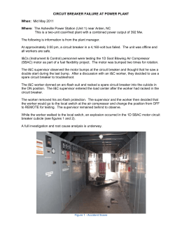 CIRCUIT BREAKER FAILURE AT POWER PLANT