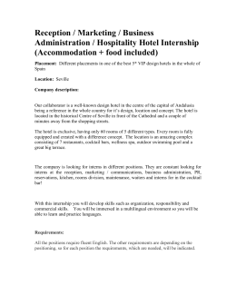 Reception / Marketing / Business Administration / Hospitality Hotel