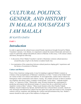 CULTURAL POLITICS, GENDER, AND HISTORY IN MALALA