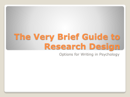 The Very Brief Guide to Research Design