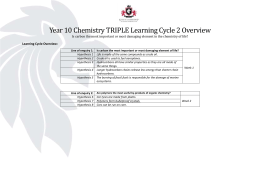 Year 10 Chemistry TRIPLE | Learning Cycle 2 | Medium Term Plan