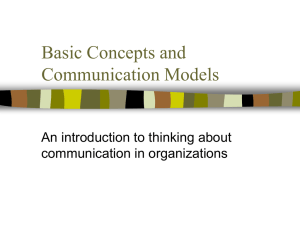 Basic Concepts and Communication Models