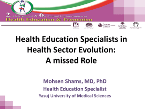 Health Education Specialists in Health Sector Evolution