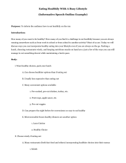 Eating healthy informative speech outline