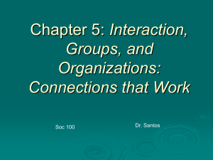 Chapter 5: Interaction, Groups, and Organizations: Connections that