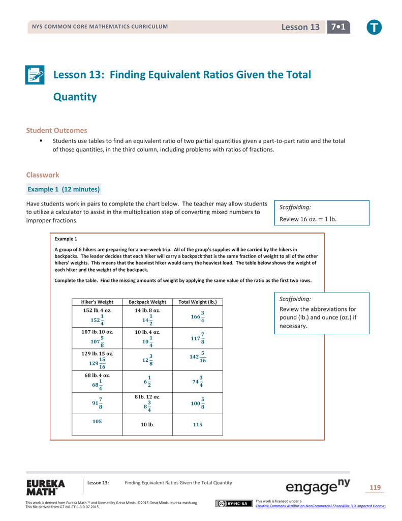 Grade 7 Mathematics Module 1, Topic C, Lesson 13: Teacher