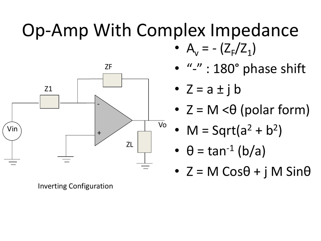 Op-Amp With Complex Impedance