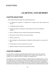 Chapter 3 * Learning and Memory