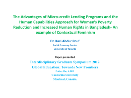 the benefits of microcredit to bangladesh essay Microcredit and grameen bank in bangladesh microcredit is the extension of very from econ 4730 at cornell.