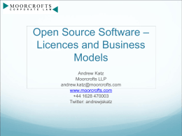Open Source Software – Licences and Business Models