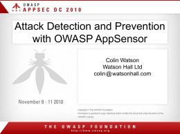 Attack Detection & Prevention with OWASP AppSensor