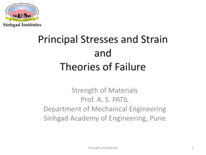 Principal Stresses and Strain and Theories of Failure