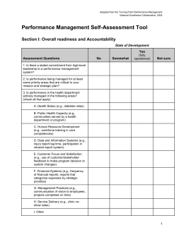 Performance Management Self-Assessment Tool
