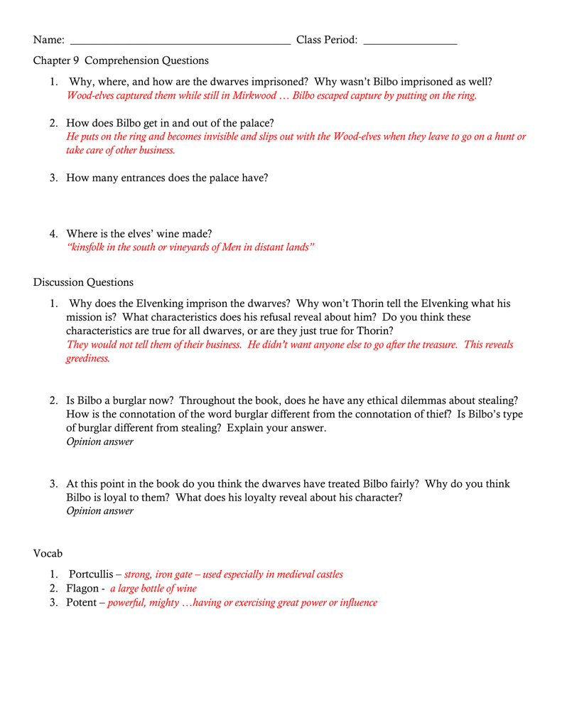 the hobbit questions and answers chapter 4