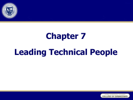 Chapter 7 Motivating & Leading Technical People