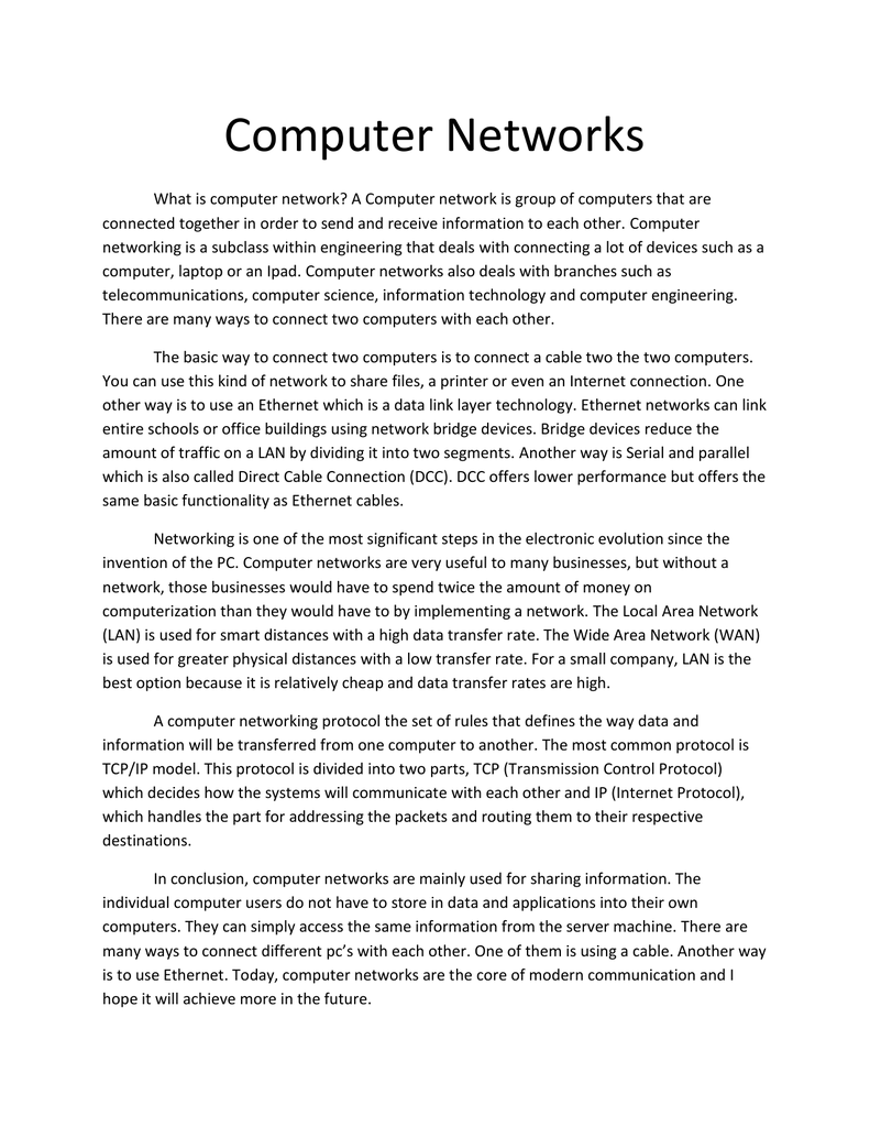 Essay on networking