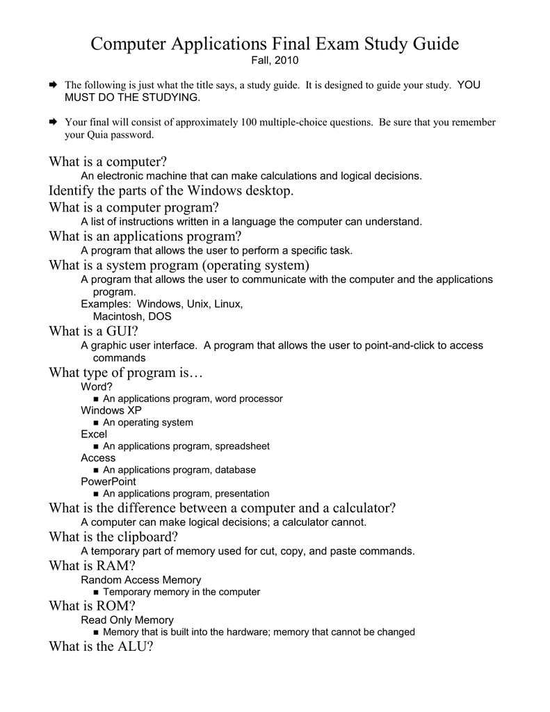 computer applications final exam study guide rh studylib net Final Exam Study Guide Ideas Make a Study Guide Chapter 10 Sheet