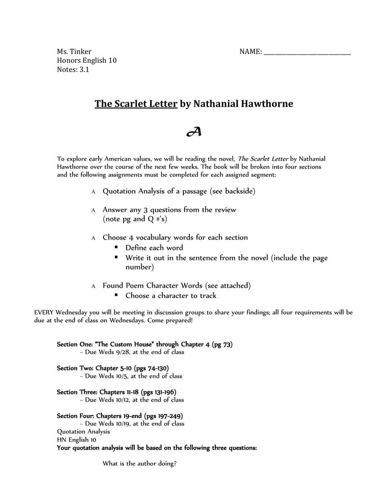 the scarlet letter common core unit plan