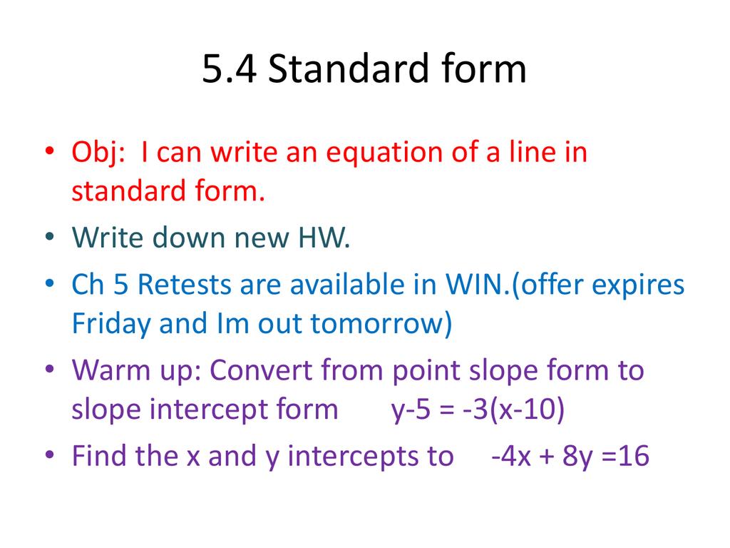 54 Standard Form
