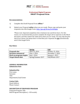 Draft Proposal Form - Office of Digital Learning