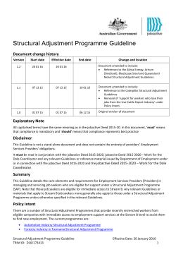 Structural Adjustments Programme Guidelines