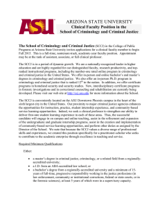 Arizona State University West Department of Criminal Justice and