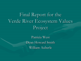 Final Report for the Verde River Ecosystem Values Project