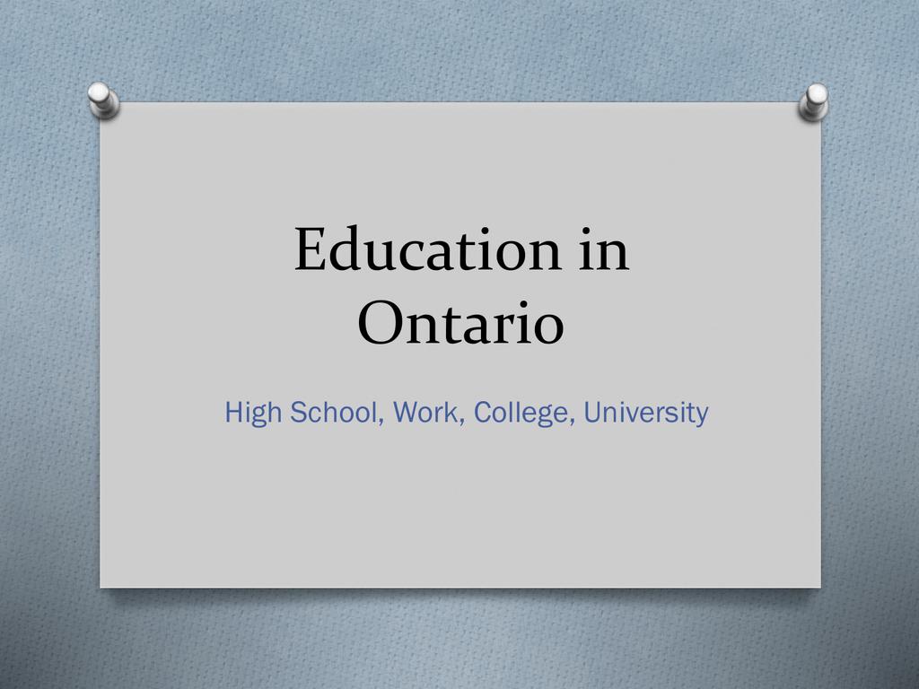 Education in Ontario - Greenwood Secondary School