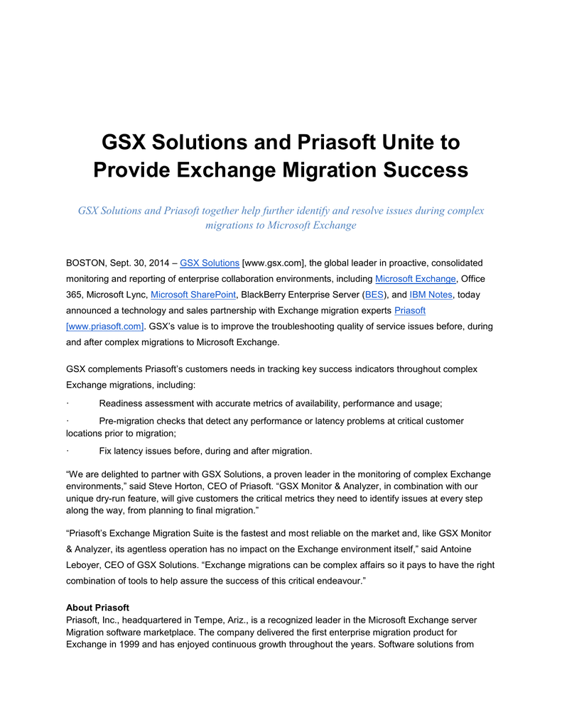 GSX Solutions and Priasoft Unite to Provide Exchange