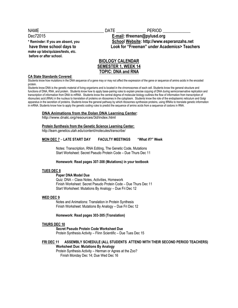 worksheet Genetic Code Worksheet name date period dec72015 e