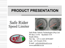 Product Presentation - Safe Rider Vehicle Technologies