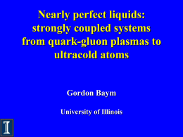talk - From Quark-Gluon Plasma to Ultra