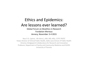 Are Lessons Ever Learned? - Global Forum on Bioethics in Research
