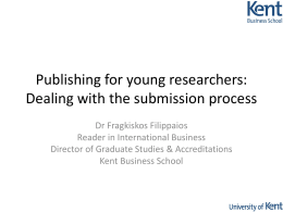 Publishing for young researchers: Dealing with