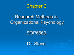 Chapter 2 Research Methods in Industrial/Organizational Psychology