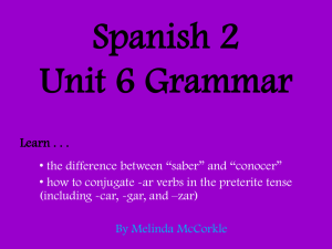 Spanish 2 Unit 6 Grammar