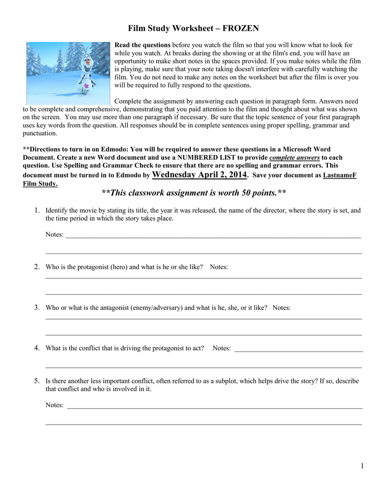 Free Worksheet Film Study Worksheet film study worksheet