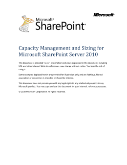 Right-Sizing SharePoint Server 2010 Deployments