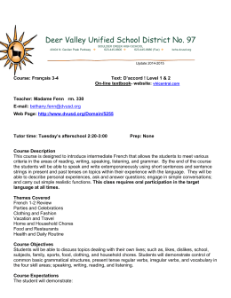 French 3-4 Syllabus - Deer Valley Unified School District