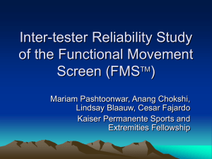 Reliability Study of the Functional Movement Screen (FMS)