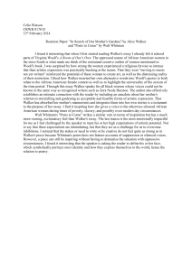 Celia Watson Reaction paper on Walker Whitman