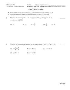 2-4 Rates of Change and Tangent Lines Quick Check