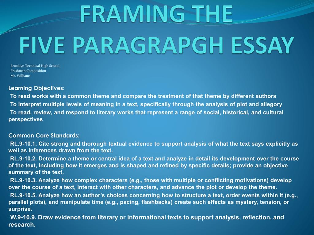 Framing the Essay - Brooklyn Technical High School